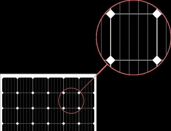 monokristallin solcellspanel närbild