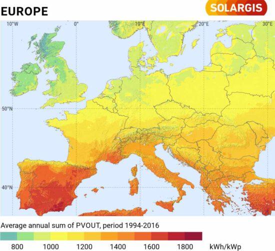 potential för solceller i Europa