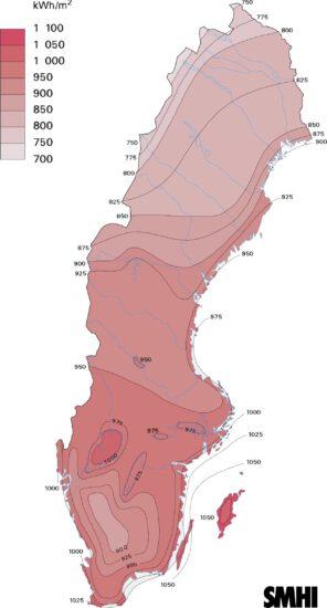Solinstrålning i Sverige kwh per år